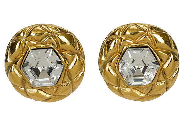 Chanel Crystal Headlight Earrings - Chanel - Vintage Lux