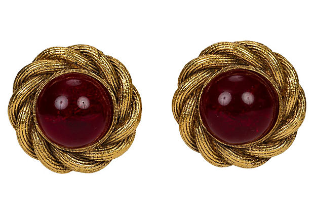 Chanel Red Gripoix Braid Button Earrings