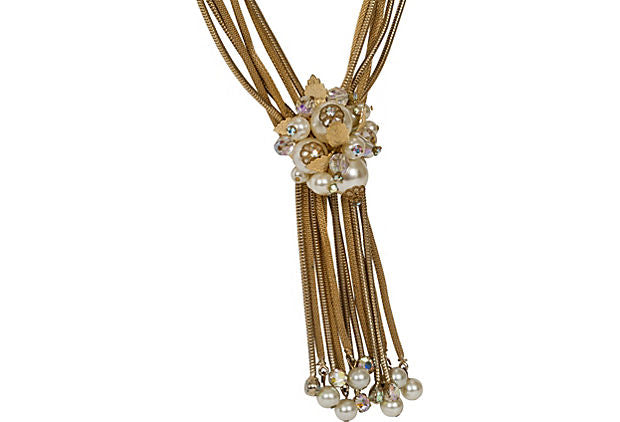 6-Chain Goldtone Pearl-Cluster Necklace