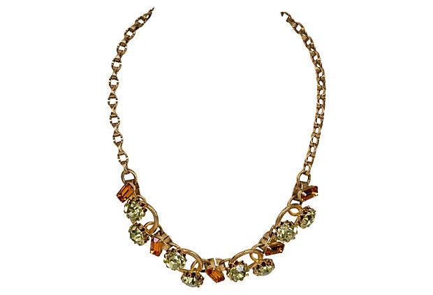 Juliana Citrine Stone Gold Necklace