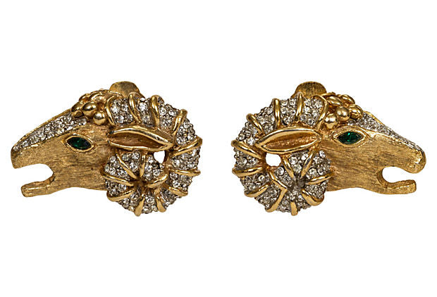 KJL Ram Head Rhinestone Earrings