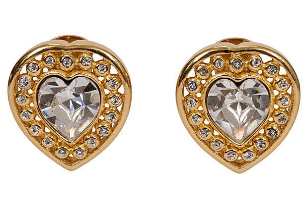 Christian Dior Rhinestone Heart Earrings