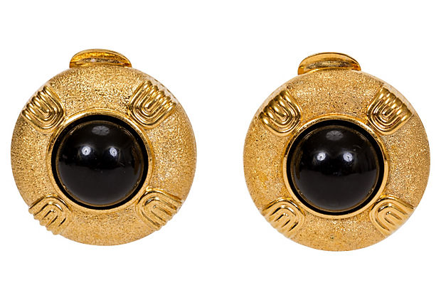 Lanvin Gripoix Gold Black Clip Earrings
