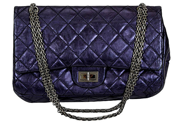 Chanel Jumbo Metallic Blue Reissue Flap