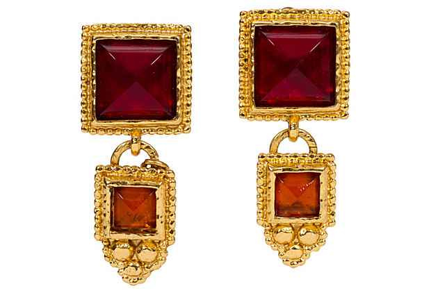 Edouard Rambaud Gold and Red Earrings