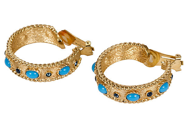 Christian Dior Gold Stone Hoop Earrings