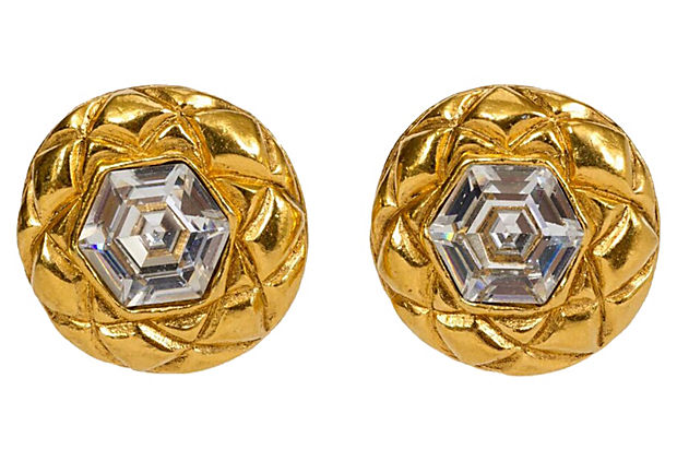 Chanel Crystal 70's Quilted Earrings - Chanel - Vintage Lux
