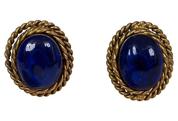 Chanel Blue Gripoix Earrings