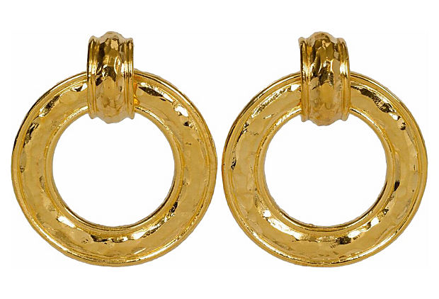 Chanel Detachable Hammered Hoop Earrings