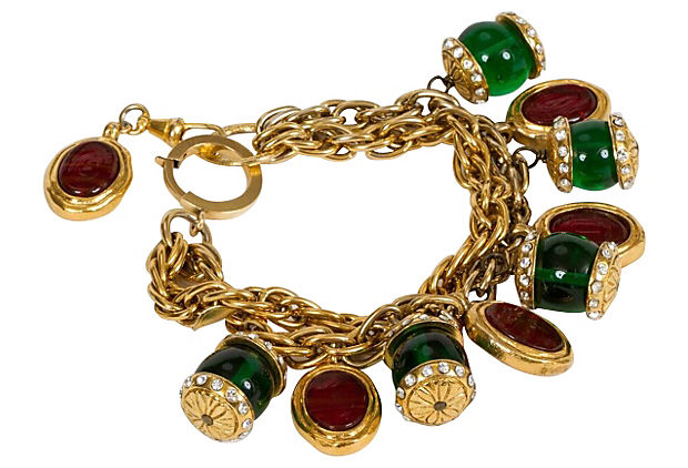 Chanel Gripoix Charm Red/Green Bracelet