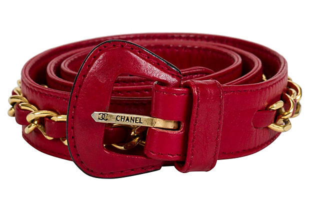 Chanel Red Leather Chain Belt