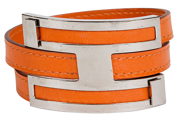 Hermès Double Orange Palladium Bracelet