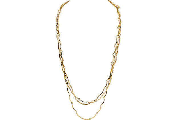 YSL Gold Triple Chain Necklace