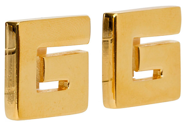 Givenchy Gold Logo Clip Back Earrings