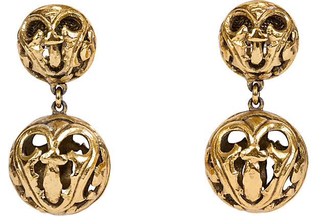 1960s Dior Gold Drop Earrings - Dior - Vintage Lux