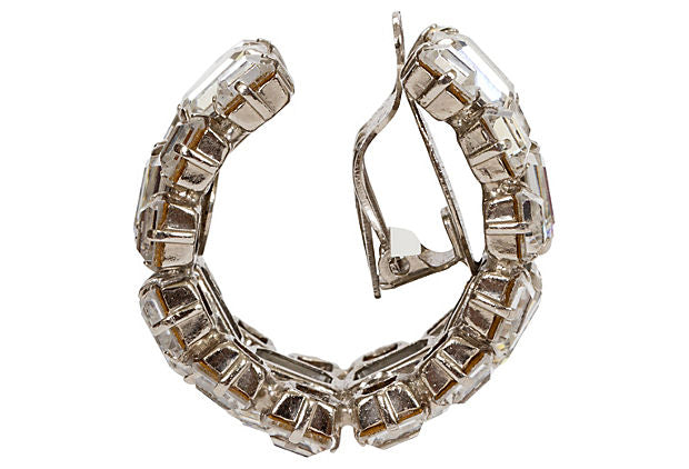 YSL Oversize Rhinestone Hoop Earrings