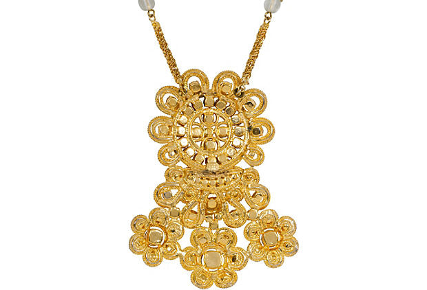Dior Gold Rhinestone Necklace Earrings