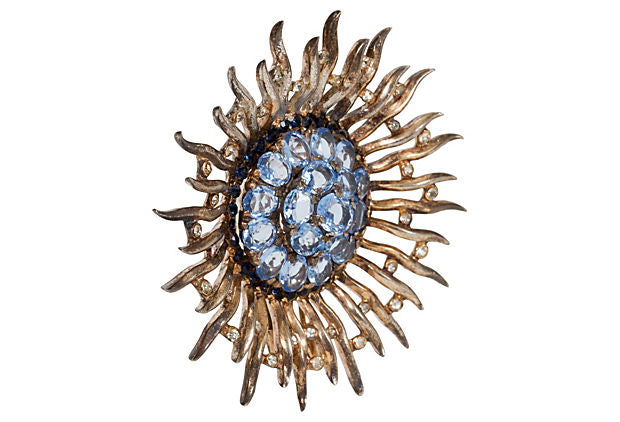 1940s Trifari Sterling Starburst Pin