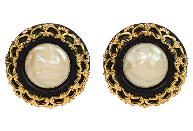 Chanel Oversize Leather & Pearl Earrings