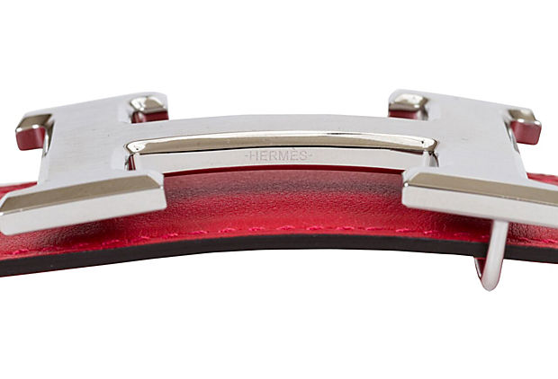 Hermès Red & Bouganville Reversible Belt