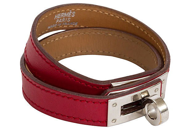 Hermès Double-Wrap Kelly Red Bracelet