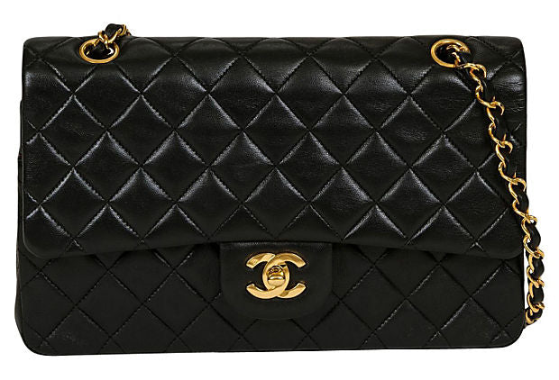 "Chanel Black Double Flap 10"" - Chanel - Vintage Lux"