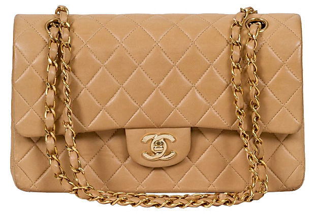 Chanel Beige Double-Flap Classic Bag - Chanel - Vintage Lux