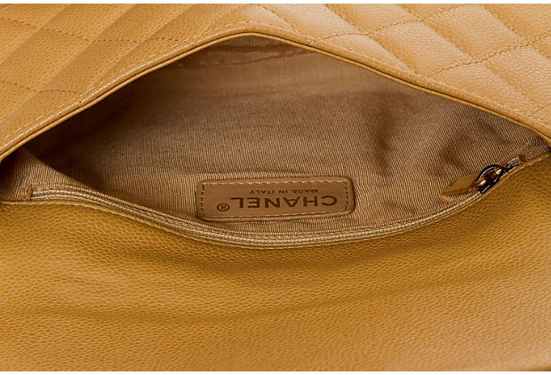 Chanel Camel Caviar Shoulder Flap