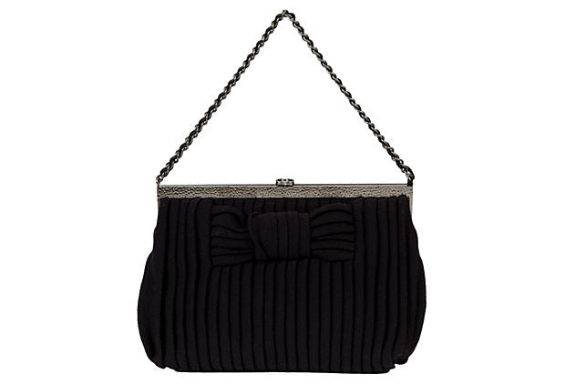 Chanel Black Jersey Pleated Evening Bag