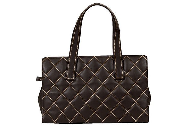Chanel Brown Contrast Stitching Tote