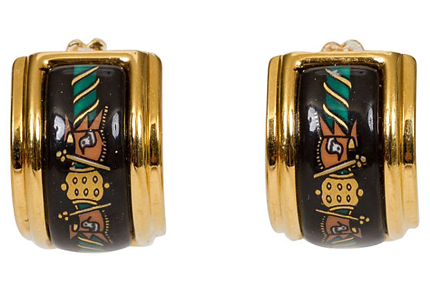 Hermès Black Enamel Clip Earrings