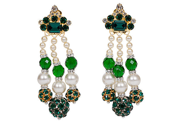 Vrba Emerald & Pearl Drop Earrings