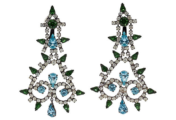 Kenneth J. Lane Rhinestone Drop Earrings