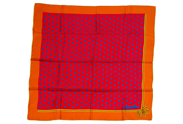 Christian Dior Orange Pois Scarf