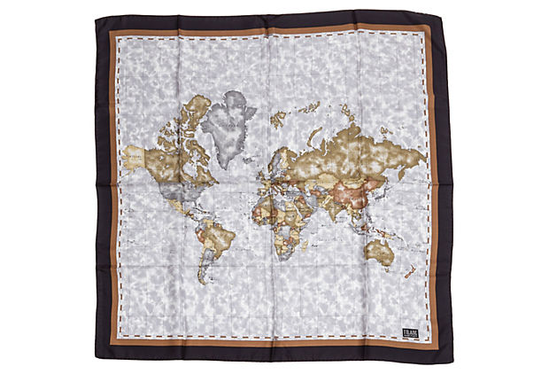 Alviero Martini Blue & Brown Map Scarf - Alviero Martini - Vintage Lux