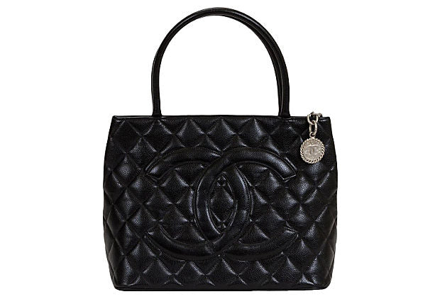 Chanel Black & Silver Caviar Medallion