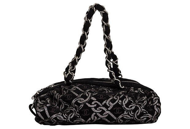 Chanel Black & Silver Brocade Tote