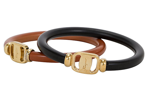 Ferragamo Brown & Black Bracelets Pair