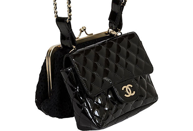 Chanel Black Lace & Patent Double Bag - Chanel - Vintage Lux