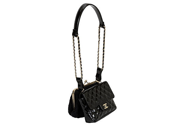 Chanel Black Lace & Patent Double Bag