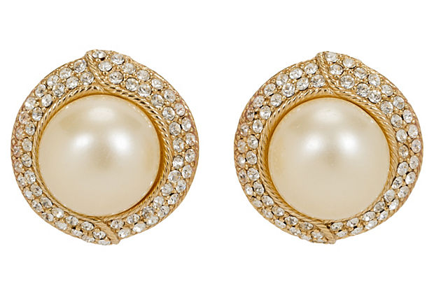 Oversize Ciner Gold Pearl Earrings
