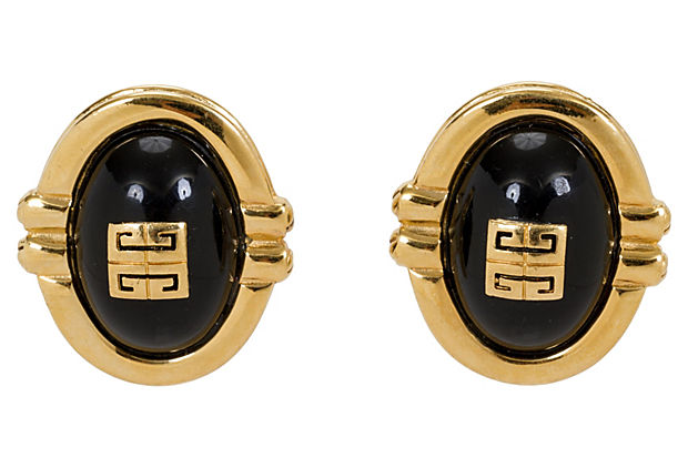 Givenchy Oversize Black & Gold Earrings