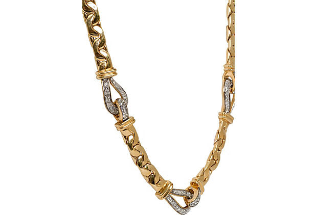 Ciner Gold Rhinestone Link Necklace
