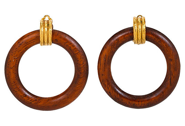 Chanel Detachable Wood Hoop Earrings