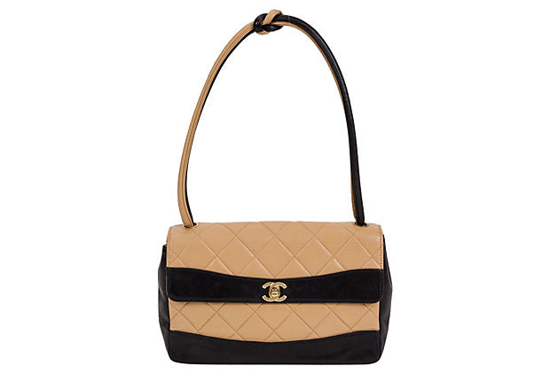 Chanel Black & Beige Single Flap