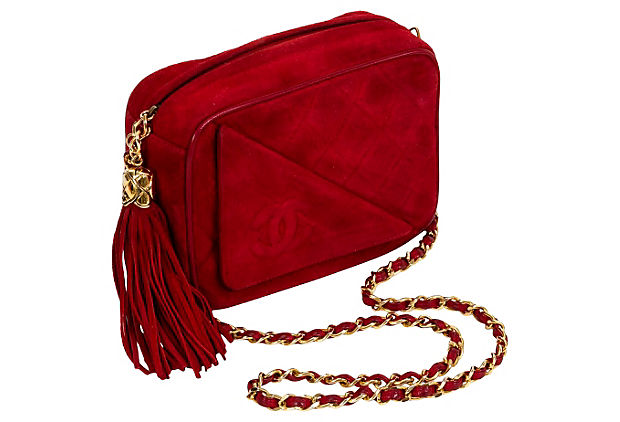 Chanel Red Suede Camera Bag w/ Tassel