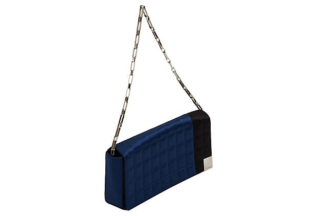Chanel Black & Blue Evening Silk Bag