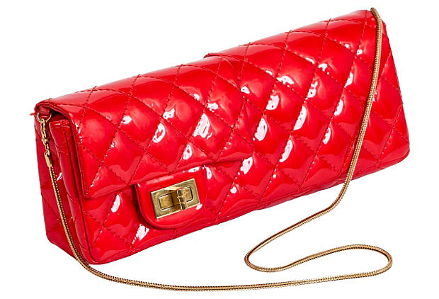 Chanel Red Patent Double Clutch