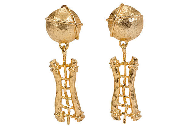 Gold Guy Laroche Hammered Earrings