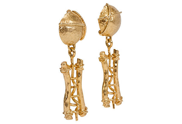 Gold Guy Laroche Hammered Earrings - Guy Laroche - Vintage Lux